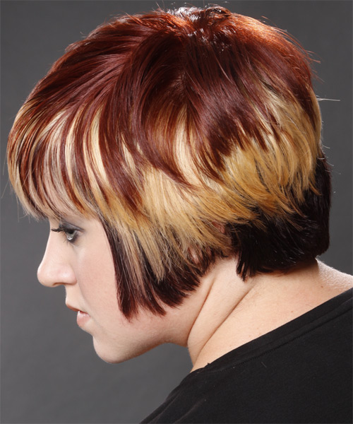 Short Straight Alternative   Hairstyle with Layered Bangs  - Dark Red (Mahogany) - Side on View