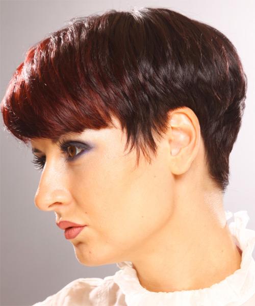 Short Straight    Burgundy Red   Hairstyle with Layered Bangs  - Side on View