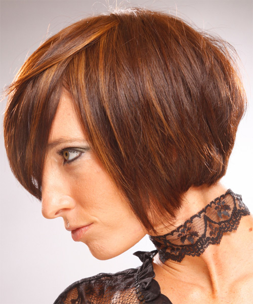 Medium Straight   Bob  Haircut   - Side on View