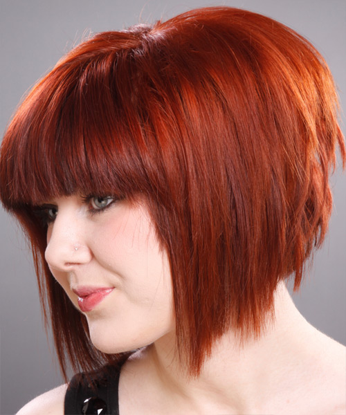 Medium Straight Layered   Ginger Red Bob  Haircut with Blunt Cut Bangs  - Side on View