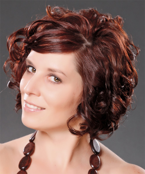 Medium Curly Formal   Hairstyle with Side Swept Bangs  - Dark Red (Burgundy) - Side on View