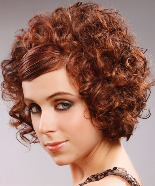 Short Curly Formal   Hairstyle with Side Swept Bangs  - Medium Red (Mahogany) - Side on View