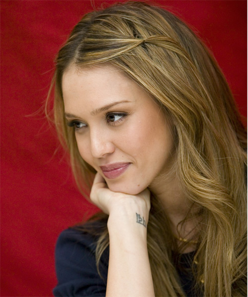 Jessica Alba Half Up Long Curly Casual  Half Up Hairstyle   - Side on View