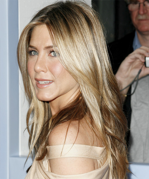 Jennifer Aniston Long Straight   Dark Ash Blonde   Hairstyle   - Side on View