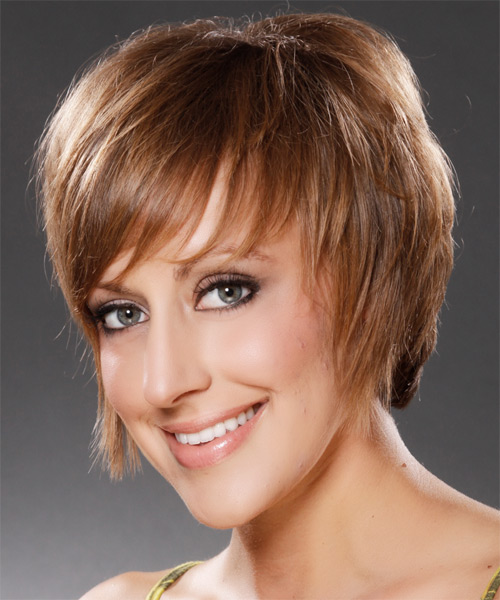 Short Straight Casual   Hairstyle   - Medium Brunette (Caramel) - Side on View