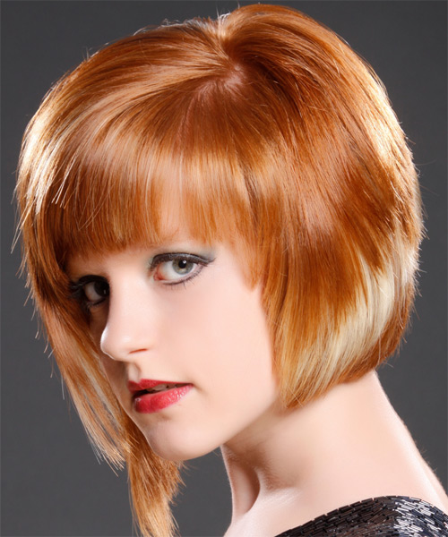 Short Straight Alternative   Hairstyle with Razor Cut Bangs  (Ginger) - Side on View