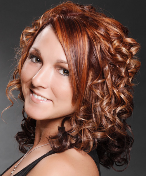Medium Curly Formal   Hairstyle with Side Swept Bangs  - Medium Brunette (Mahogany) - Side on View