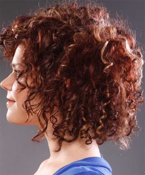 Medium Curly Casual   Hairstyle   - Side on View