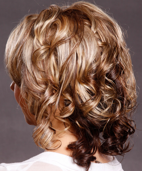 Medium Curly   Dark Blonde   Hairstyle   with Light Blonde Highlights - Side on View