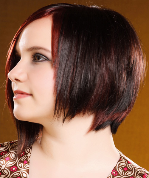 Medium Straight Alternative   Hairstyle with Side Swept Bangs  - Dark Brunette (Burgundy) - Side on View