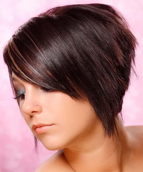 Short Straight Alternative    Hairstyle   - Dark Burgundy Brunette Hair Color with  Blonde Highlights - Side on View
