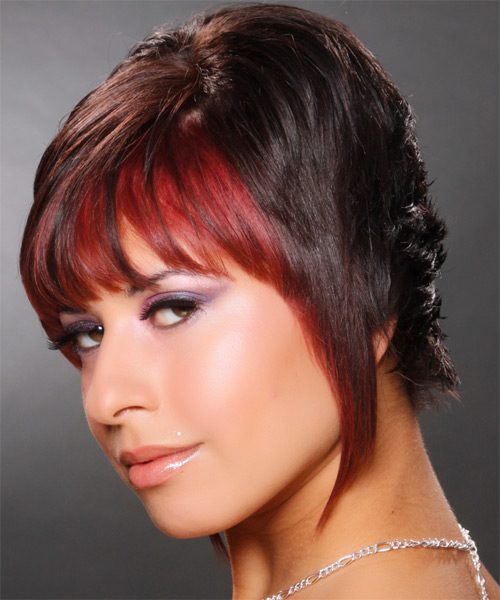 Short Straight Alternative   Hairstyle   - Dark Brunette (Chocolate) - Side on View