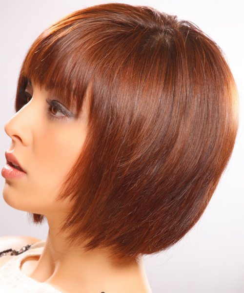 Medium Straight    Ginger Brunette Bob  Haircut   - Side on View