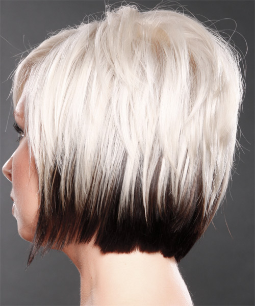 Short Straight   Platinum and Dark Brunette Two-Tone   Hairstyle with Side Swept Bangs  - Side on View