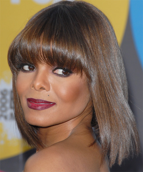 Janet Jackson Medium Straight Formal   Hairstyle   - Side on View