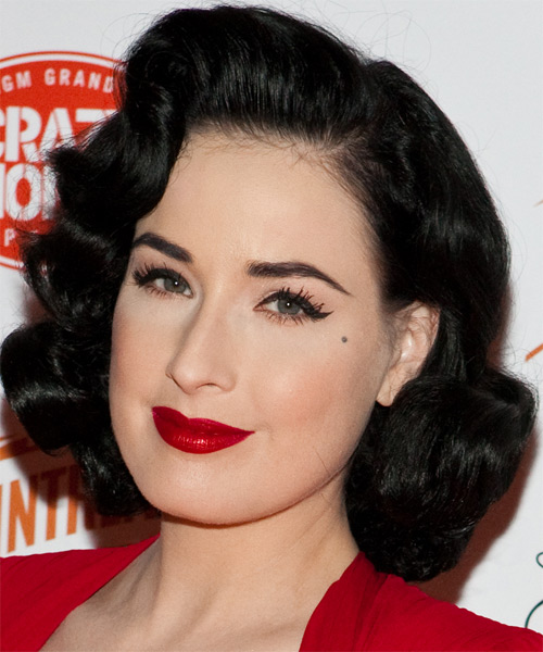 Dita Von Teese Medium Wavy Formal   Hairstyle   - Black - Side on View