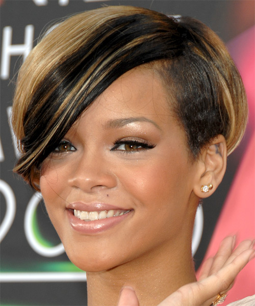 Rihanna Short Straight Alternative   Hairstyle with Side Swept Bangs  - Medium Blonde - Side on View