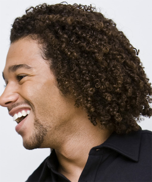 Corbin Bleu Medium Curly Casual Afro  Hairstyle   - Side on View