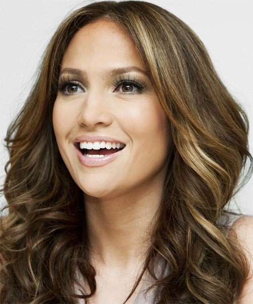 Jennifer Lopez Long Wavy    Brunette   Hairstyle   with Dark Blonde Highlights - Side on View