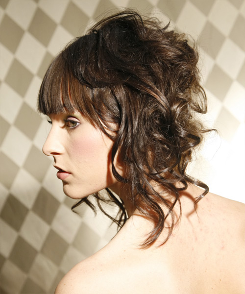 Long Curly Formal   Updo Hairstyle   - Dark Brunette Hair Color - Side on View