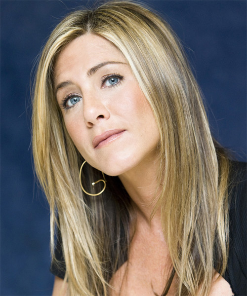 Jennifer Aniston Long Straight    Blonde   Hairstyle   - Side on View
