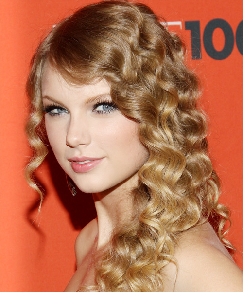 Taylor Swift Long Curly   Dark Blonde   Hairstyle   - Side on View
