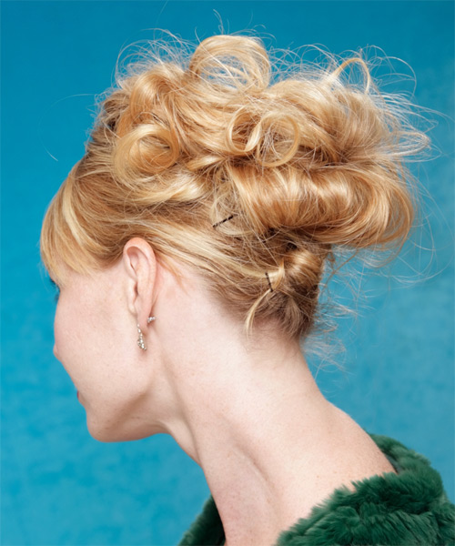 Long Curly   Dark Blonde  Updo  with Side Swept Bangs  - Side on View