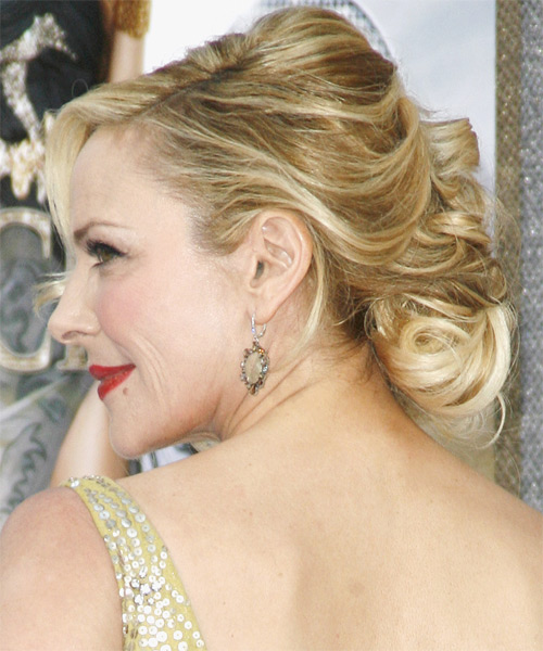 Kim Cattrall Updo Medium Curly Formal  Updo Hairstyle   - Side on View