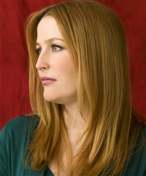 Gillian Anderson Long Straight Casual   Hairstyle   - Side on View