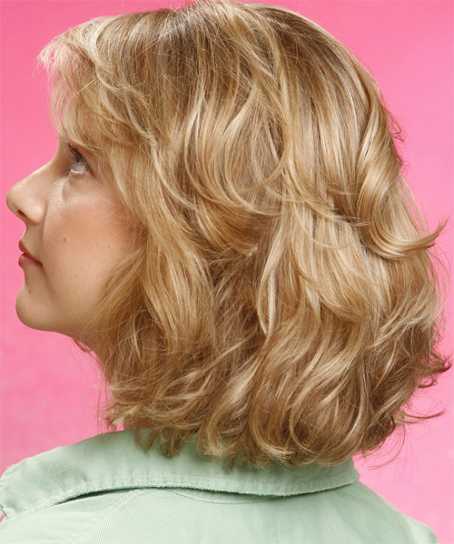 Medium Wavy   Golden   Hairstyle with Side Swept Bangs  - Side on View