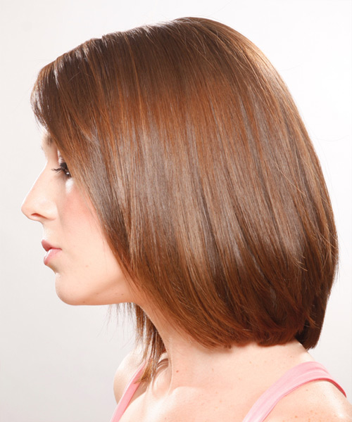 Medium Straight   Auburn   Hairstyle   - Side on View