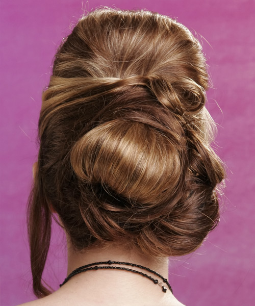Long Straight Formal   Updo Hairstyle with Side Swept Bangs  - Light Caramel Blonde Hair Color - Side on View