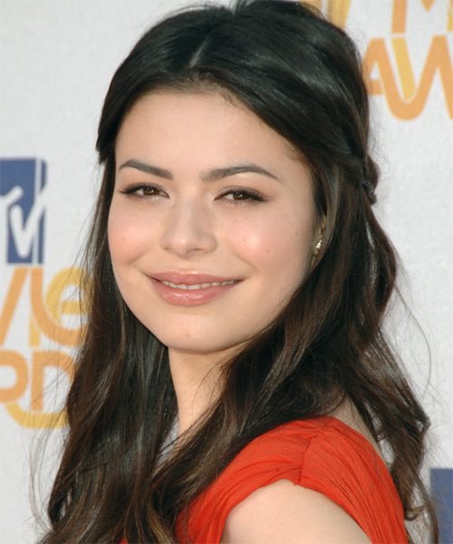 Miranda Cosgrove Half Up Long Curly Casual  Half Up Hairstyle   - Side on View