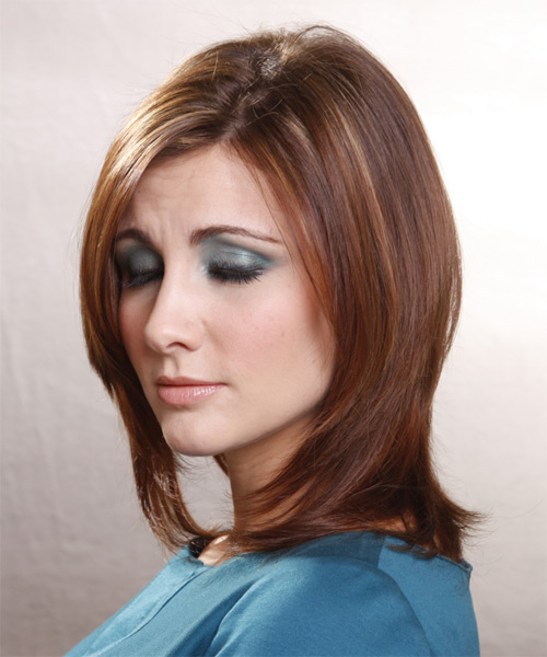 Medium Straight Formal   Hairstyle   - Light Brunette - Side on View