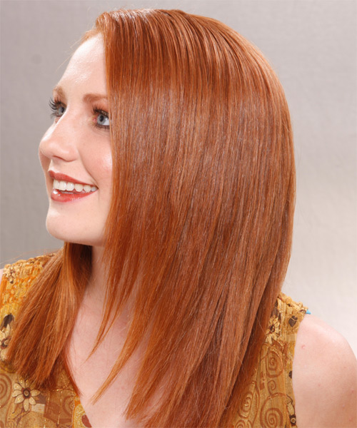 Long Straight Formal   Hairstyle   - Medium Red (Ginger) - Side on View