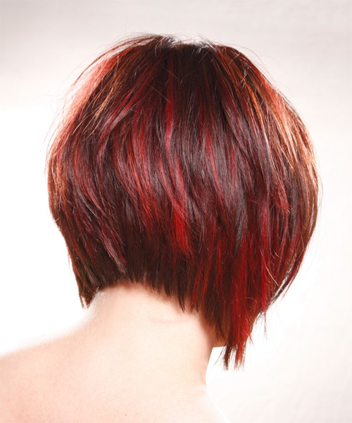 Medium Straight    Bright Red   Hairstyle   - Side on View