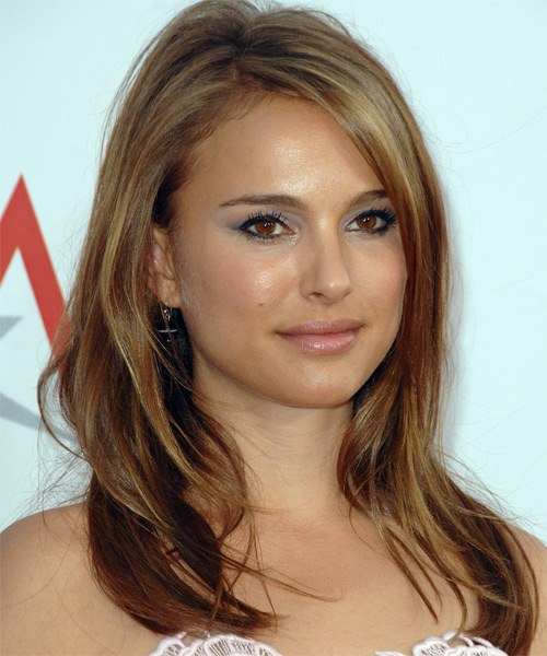 Natalie Portman Long Straight Casual    Hairstyle   - Side on View