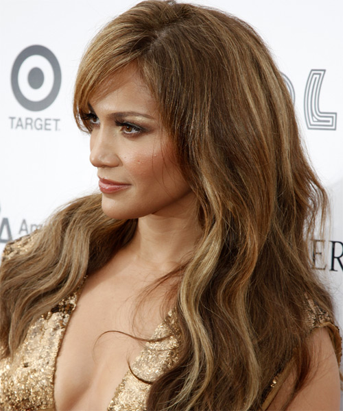 Jennifer Lopez Long Wavy Casual    Hairstyle with Side Swept Bangs  -  Caramel Brunette Hair Color - Side on View