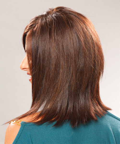Medium Straight    Chocolate Brunette   Hairstyle with Side Swept Bangs  - Side on View