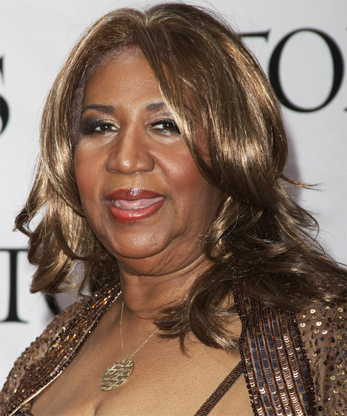 Aretha Franklin Long Wavy Formal   Hairstyle   - Side on View
