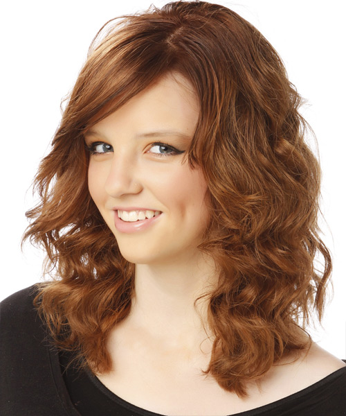 Medium Wavy Casual   Hairstyle   - Side on View