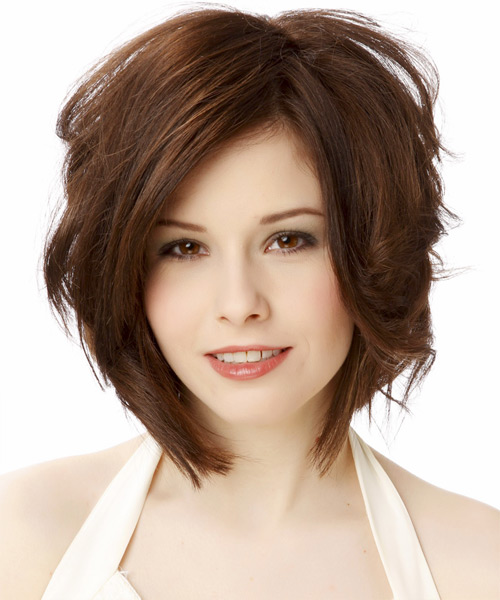 Medium Wavy Casual    Hairstyle   - Chocolate Hair Color - Side on View