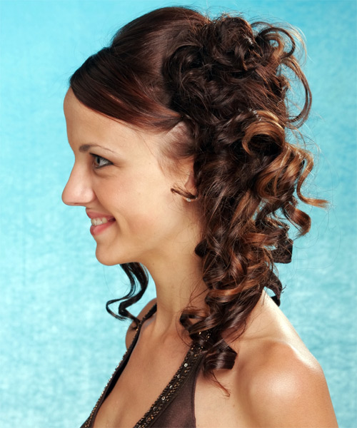 Updo Long Curly Formal Wedding Updo Hairstyle   (Mocha) - Side on View