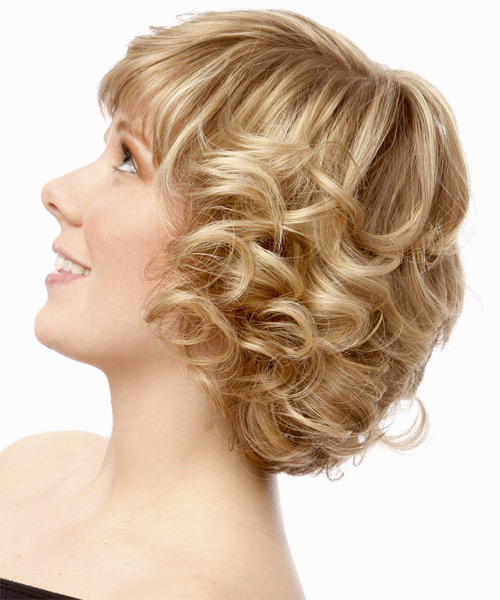 Short Curly Formal    Hairstyle with Side Swept Bangs  - Light Blonde Hair Color - Side on View