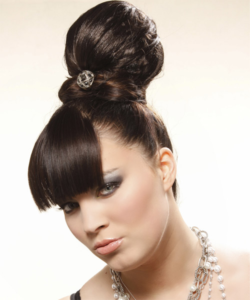 Long Curly Formal   Updo Hairstyle   - Dark Mocha Brunette Hair Color - Side on View