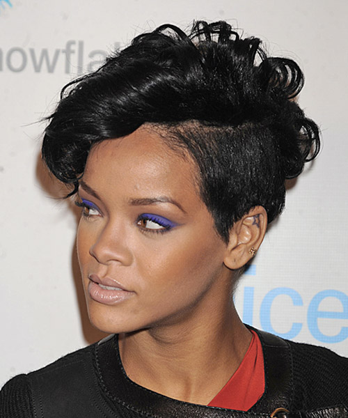 Rihanna Short Wavy Alternative Undercut  Hairstyle   - Black - Side on View