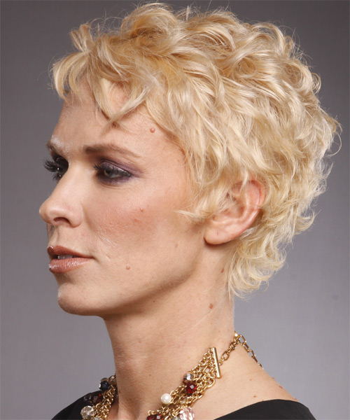 Short Wavy Formal   Hairstyle with Layered Bangs  - Light Blonde - Side on View