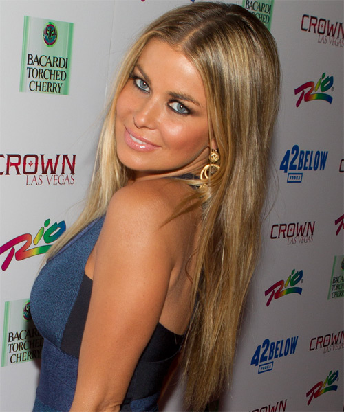 Carmen Electra Long Straight Casual   Hairstyle   - Side on View