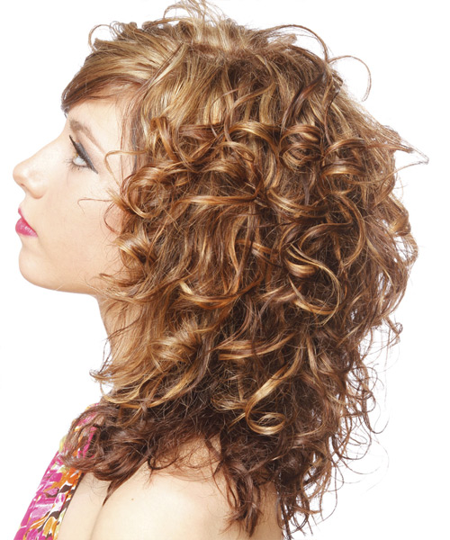 Long Curly   Light Chestnut Brunette   Hairstyle   - Side on View