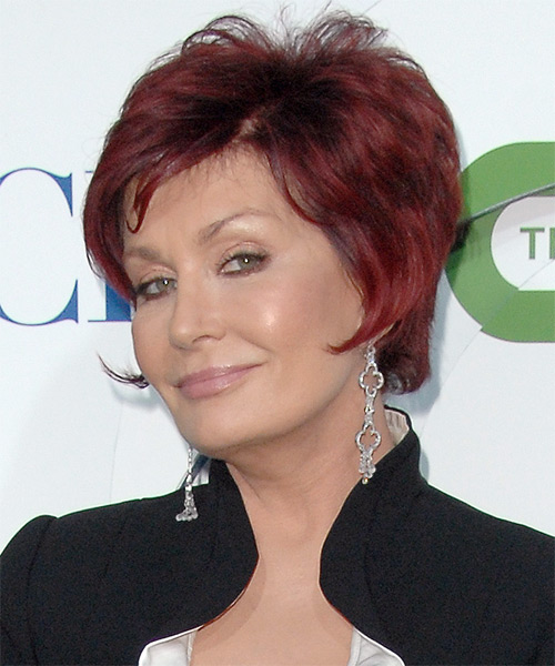 Sharon Osbourne Short Straight Formal   Hairstyle   - Light Red - Side on View